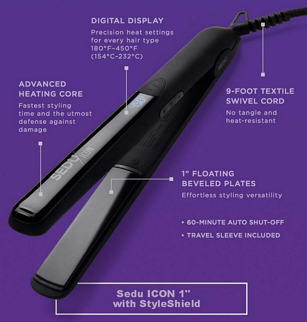 "Sedu ICON 1"" Styling Iron with StyleShield"